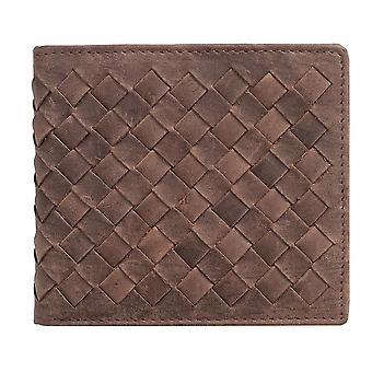 Primehide Miesten suunnittelija Luxury Criss Cross Leather Bifold Lompakko