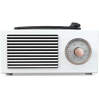Haut-parleur Bluetooth rétro, radio FM bluetooth rétro, puissant graveur de musique rotatif sans fil, blanc