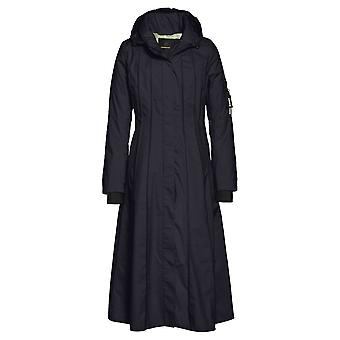 Creenstone Midnight Navy Blue Long Panelled Coat With Flared Hem Detail By Creenstone