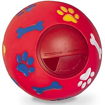 Dog Chew Toy Food Dispenser Leakage Food Rubber Play Ball Chew Training Pet Treat Feeder(Red)