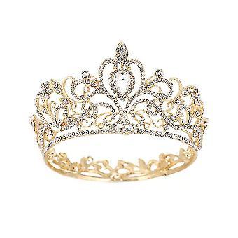 Barokke ronde kroon tiara bruids hoofdtooi prinses bruiloft hoofddeksels