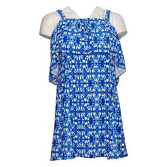 Fit 4 U Swimsuit Off the Shoulder Swim Dress Blue A394009