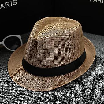 Men's Fedoras Jazz Plaid Hat, Summer & Autumn Bowler Cap(Khaki7)