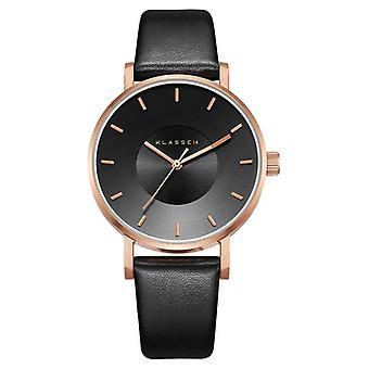 Klasse14 Volare Dark Rose 36mm Black Leather Strap VO16RG005W Watch