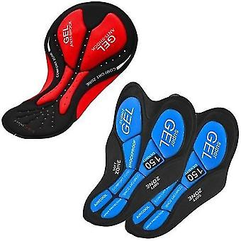 Shorts de bicicleta de bicicleta 3 pacotes de shorts de ciclismo gel acolchoado almofada acolchoada para homens calças de cueca mulheres (2 azul 1 vermelho)