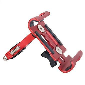 (Rojo) Bicicleta de montaña de aleación de aluminio soporte de montaje del manillar del manillar