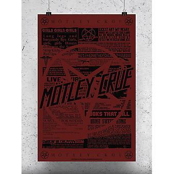 Motley Crue Papers Poster -Motley Crue Designs