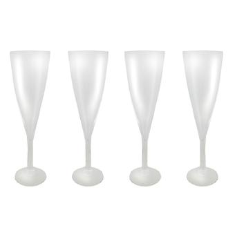 Set of Four 16 Inch Tall Clear Glass Champagne Flute Vases