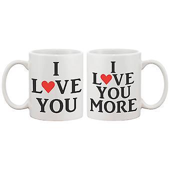 Jeg elsker dig matchende kaffe krus - perfekt bryllup, Engagement, jubilæum og Valentines dag gave til par