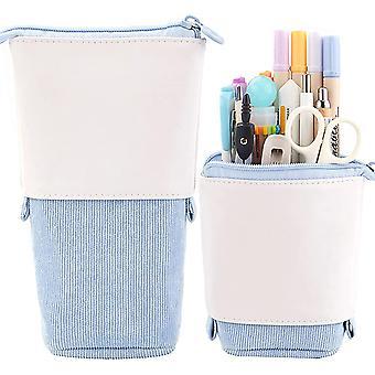 Pluma lápiz titular de papelería, Pu Pana de pie transformador bolsa organizador colorido, ideal para cosméticos bolsa de maquillaje bolsa (azul)