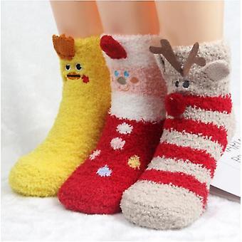 Damskie pluszowe skarpetki z kapciami Animal Aoft Warm Winter Christmas Socks
