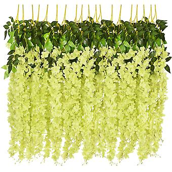 12 Pack 3.6 Feet Artificial Gold Rattan Hanging Garland Silk Flowers String Home Party Wedding Decoration
