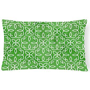 Watercolor Geometric Cirlce on Green Canvas Fabric Decorative Pillow