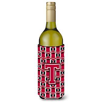 Letter T Football Crimson and White Wine Bottle Beverage Insulator Hugger