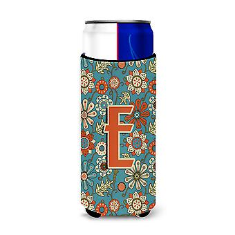 Letter E Flowers Retro Blue Ultra Beverage Insulators for slim cans