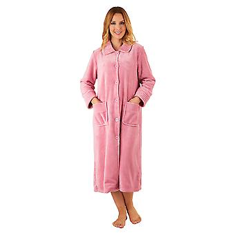 Slenderella HC2301 Women's Pink Robe Long Sleeve Dressing Gown