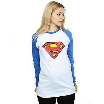 DC Comics Women's Superman Logo Long Sleeved Baseball Shirt