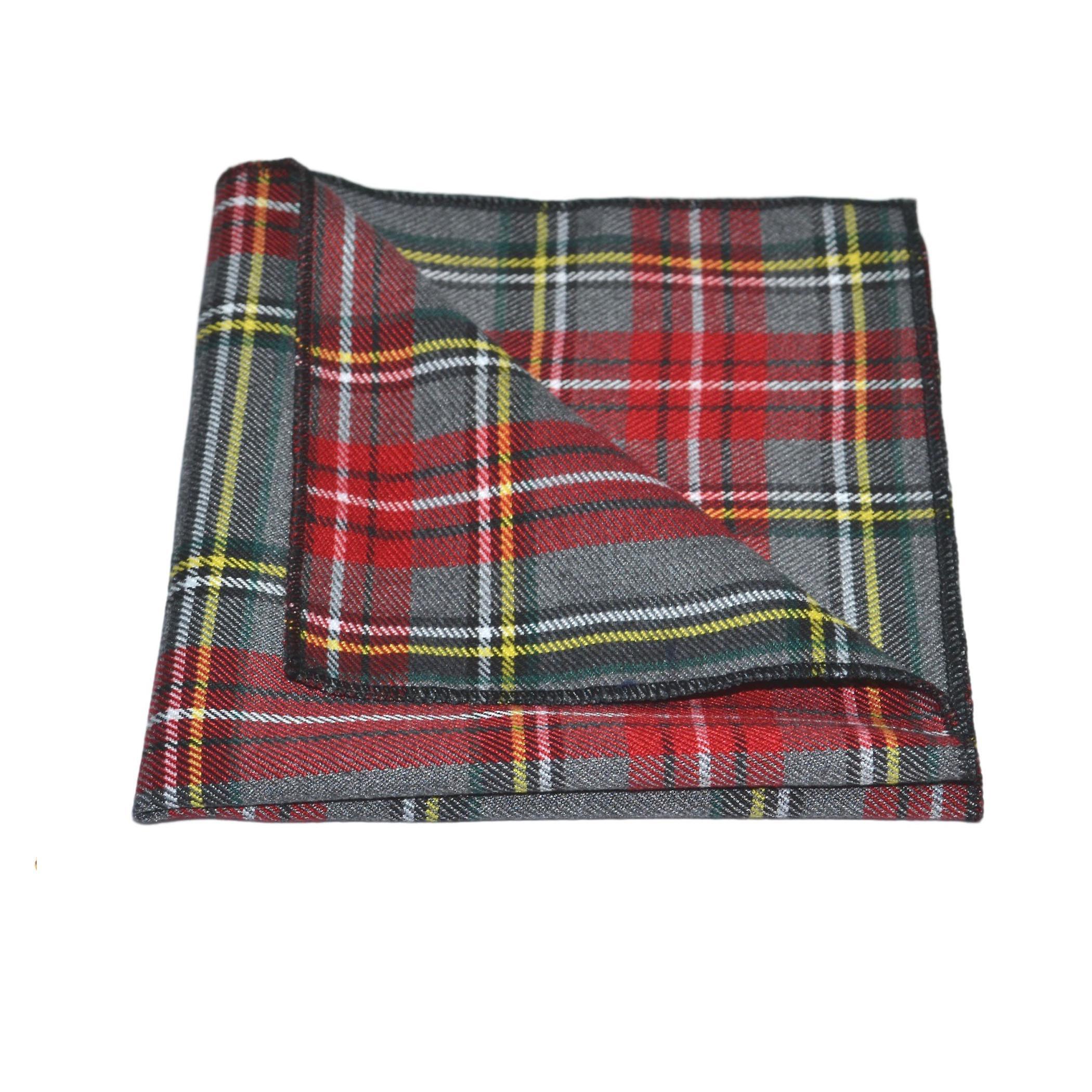Traditional Light Grey & Red Tartan Tie & Pocket Square Set, Check, Plaid