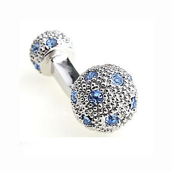 Mens Ladies Luxury Stud Cufflinks Blue Silver Ball Return Unique Gift Top Quality