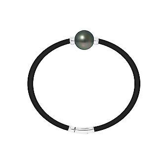 Mannen neopren armband, Pearl av Tahiti och Silver 925