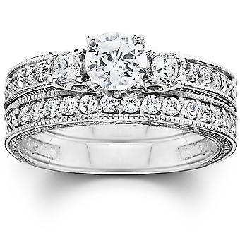 1 1 / 4ct Vintage diamant bröllop förlovningsring Ställ 14K