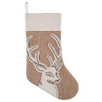 Stag Deer Head Appliqued on Burlap Rustic Christmas Holiday Stocking 20 Inches