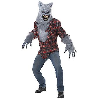 Grey Lycan Werewolf Wolfman Big Bad Wolf Horror Monster Halloween Men Costume