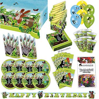 A festinha da toupeira conjunto XL 77-teilig para 8 convidados pacotinho Mole decoração festa