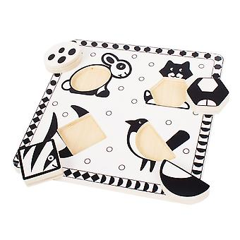 Bigjigs Toys Wooden Chunky Pets Black and White Educational Jigsaw Puzzle