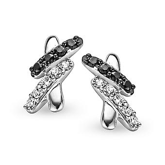 Orphelia Silver 925 Earring B&W Zirconium   ZO-5101