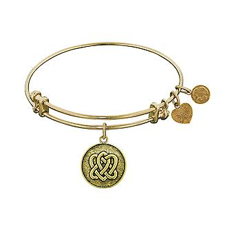 "Stipple Finish Brass Eternal Life  and Unity Angelica Bangle Bracelet, 7.25"""