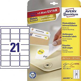 Avery-Zweckform L6023REV-25 Labels 63.5 x 38.1 mm Paper White 630 pc(s) Removable All-purpose labels Inkjet, Laser, Copier 30 Sheet A4