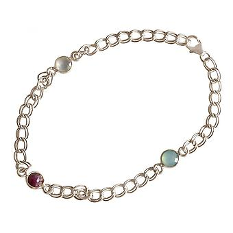 Damen - Armband - 925 Silber - Rubin - Chalcedon - Rot - Meeresgrün - Kette - Geschmeidig