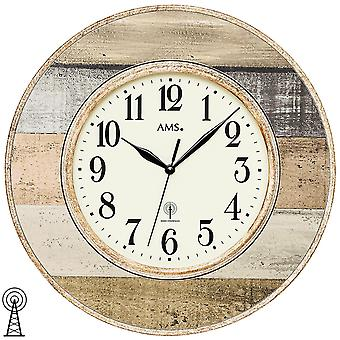 AMS 5975 wall clock radio radio controlled wall clock round antique vintage retro shabby wood look