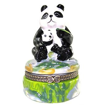 Giant Panda Bear and Baby Cub Trinket Box Porcelain Hinged Box