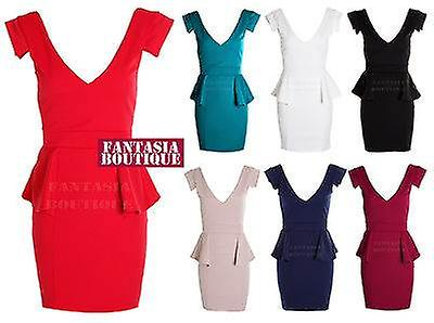 Ladies Cap Sleeve V Neck Low Front Back Bodycon Bandage Frill Women's Dress