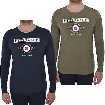 Lambretta Mens Long Sleeve Ringer Cotton Casual Crew Neck T-Shirt Tee Top