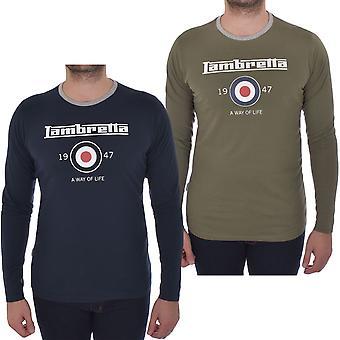 Lambretta Mens Långärmad ringsignalen bomull Casual Crew Neck T-Shirt Tee Top