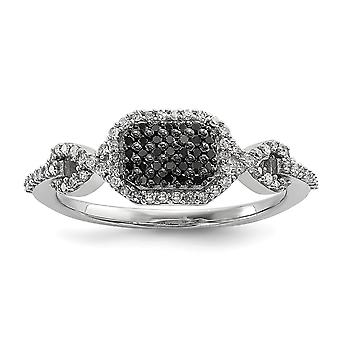 925 Sterling Silver Polished Gift Boxed Rhodium plated Black and Whtie Diamond Ring Jewelry Gifts for Women - Ring Size: