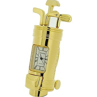 Gift Time Products Golf Bag and Clubs Miniature Clock - Gold