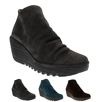 Womens Fly London Yip Oil Suede Wedge Heel Platform Ankle Boot Mid Heels
