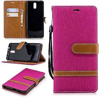 För Nokia 3.1 jeans täcka mobiltelefon skyddskåpa ärendet rosa