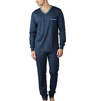 Mey 18889-668 miesten miesten Uni Basic Yacht sininen Pyjama setti