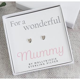 For A Wonderful Mummy Heart Sterling Silver Earrings