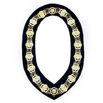 OES - Masonic Compass Square Chain Collar - Gold/Silver on Black + Free Case