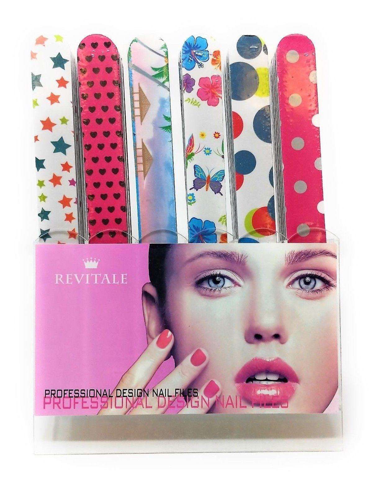 Revitale Professional Design Nail Files x 6 Designs (Pattern Design)