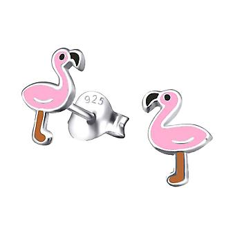 Children's Sterling Silver Flamingo Stud Earrings