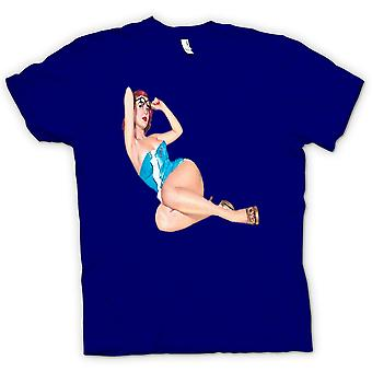 Mens T-shirt - Blue and Specs - Vintage Pinup