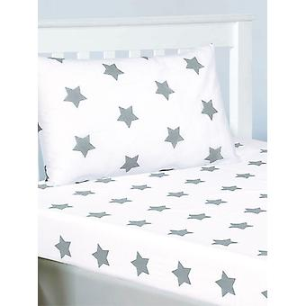 Grey and White Stars Fitted Sheet and Pillowcase Set