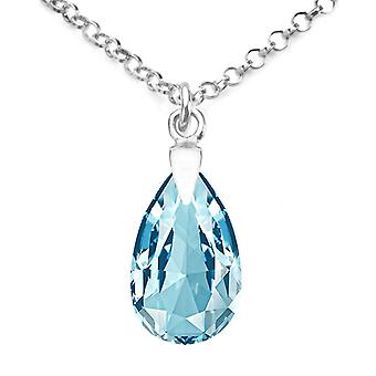 Ah! Jewellery Sterling Silver 16mm Aquamarine Crystals From Swarovski Pear Necklace, Stamped 925
